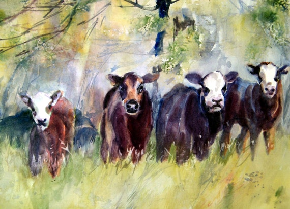 calves - a signed print of a watercolor painting done by Columbia Gorge watercolor artist Bonnie White