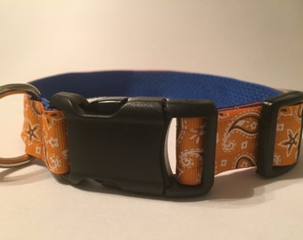 Large Dog Collar - Orange Paisley