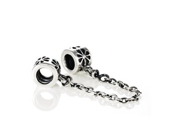 New! Authentic Pandora Sterling Silver Charm # 790385 - Daisy Safety Chain Bead Box Included