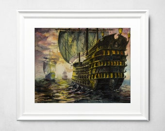 Original epic ship watercolor painting. Detailed watercolor painting, realistic style. Vintage ship - old warship with cannons.