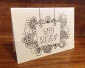 Download Happy Birthday Folded Card to Colour - Digital Download - Original Doodle Design