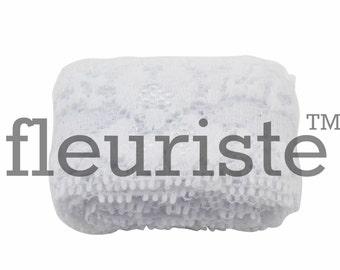 Elastic Lace, Lace Ribbon, Stretch Lace, Elastic Lace Trim, Lace by the yard, Lace Trim, Stretchy Lace, Lace Elastic, 1 inch, White Lace