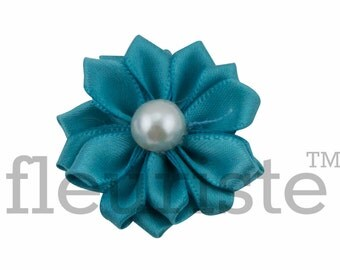 TEAL Ribbon Flower With Pearl, Satin flower, Fabric rose, Rolled Rosette, Wholesale Flower, Fabric Flower, Satin Flower, 3pc