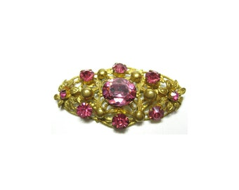 Vintage 1930s Bohemian Art Deco 1930s Pink Czech Pin Brooch | FREE DELIVERY