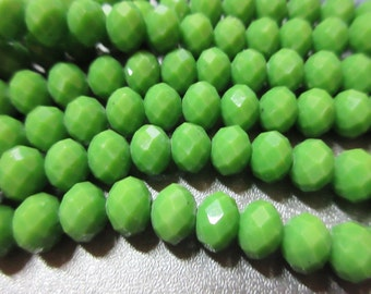 Chinese Crystal Beads 8mm Faceted Roundell 71pcs Basil Green