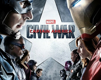 "Captain America Civil War Poster 24""x36"" 2016"