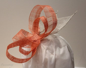 Simple and elegant copper and white fascinator