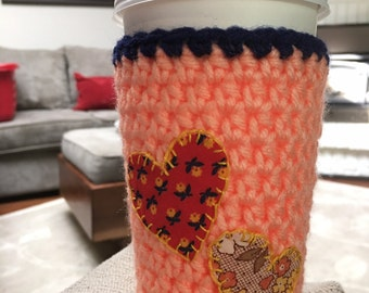 Crochet coffee cozy, reusable coffee cup, coffee sleeve, mug hug, reusable coffee sleeve, crochet cup cozy, hearts, floral, peach, navy