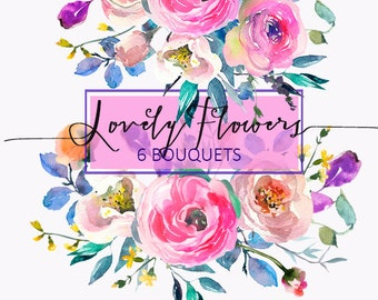 Pink Watercolor Flowers Peonies  Clipart  Wedding Floral Bouquets Peony Roses Clip Art Digital Florals DIY Invitation Free Commercial Use
