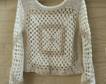 Granny Square Crochet Crop Top with Long Sleeve