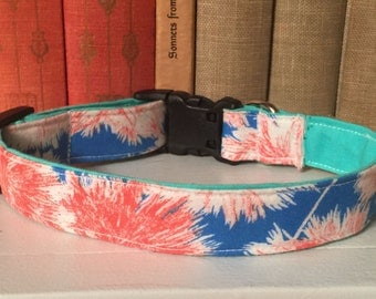 Blue and Pink Wispy Flowers Dog Collar