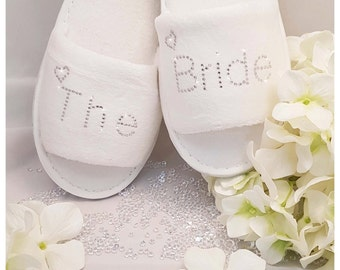 Personalised Bride Wedding Spa Slippers Diamante Rhinestones All Wedding Guests All Sizes Clear Diamantes