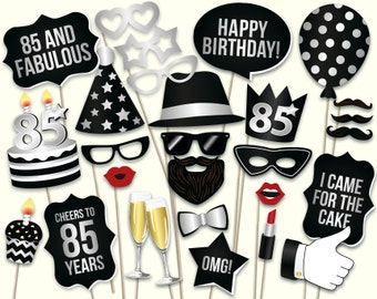 85th birthday photo booth props: printable PDF. Black and silver eighty fifth birthday party supplies. Instant download Mustache, lips