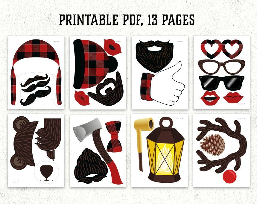 Lumberjack Photo Booth Props Printable Pdf By Hatacrobat
