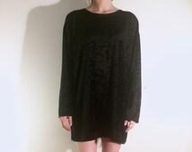 Vintage 90's   Black velvet loose dress   Size medium