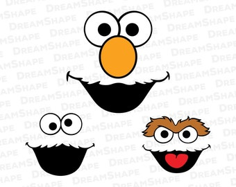 Elmo SVG Files, Cookie Monster SVG Files, Oscar the Grouch SVG Files, Cartoon Sesame Street Svg Dxf Cut File for Cricut, Instant Download