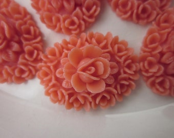 12 Vintage Coral Lucite Floral Cabochons, 24mm x 18mm Ovals