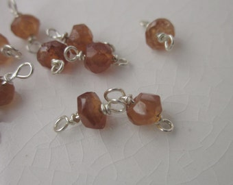 13 Hessonite Garnet Connectors on Sterling Wire, 8mm x 4mm