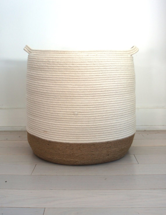 Handmade Jute Baskets : Large jute and cotton rope basket by yoonmileehome on etsy