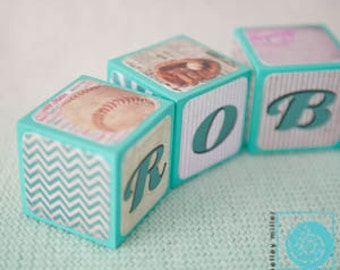 Baby Name Blocks - Vintage Baseball Name Blocks -  Baby Shower Gift - Nursery Decor - Personalized Blocks - Soft Aqua colors