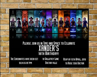Dr Who Invitation, Birthday Invitation,Sale!!!  Personalised and ready for you to print