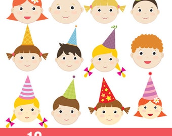 Cute baby,children faces,avatar,icon,kid,digital clipart,clip art set,transparent background - Instant Download