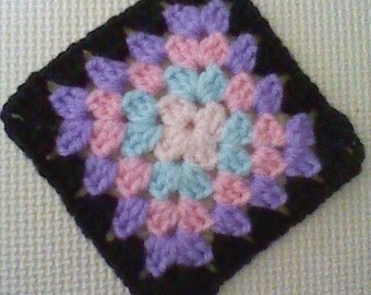 Crochet Granny Square applique for craft, multi colour,11.5cm x 11.5cm in square,baby blanket square,Coaster,Mug rug,Square motif