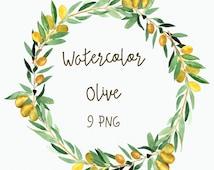 Watercolor Olive Clip Art - Wreath- Laurel