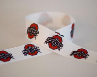 "1"" Ohio State Grosgrain Ribbon. University. Buckeyes."