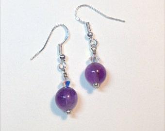 Amethyst & Swarovski Crystal Earrings