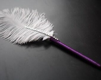 Just a pen / Purple Pen for Guest Book / Osrtech Feather Pen with Rhinestones / Custom Color Guest Book Pen / Fancy Feather Pen
