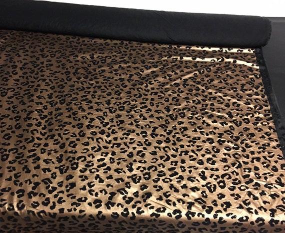 Metallic Bronze Leopard Stretch Vinyl Print Spandex