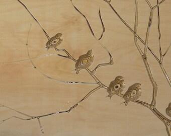 3D Carved Wall Art - Winter Birds