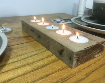 Reclaimed Wood Pallet Board Tea Light Candle Holder (5 Candles)