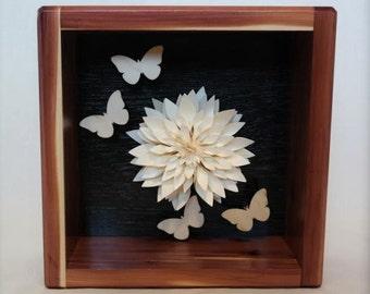 "Shadowbox Interior Decor Frame -Ivory Dahlia and Laser Cut Wood Craft Butterflies Cedar Red 8""x8"""