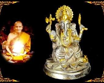 "3"" Lord Ganesha Statue/ Lp Doo/ Power Rich Success Talisman/ Real Thai Amulet/ Elephant Statue/ Ganesh Be2529 #11427"