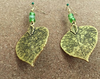 Leaf Earrings with bead detail