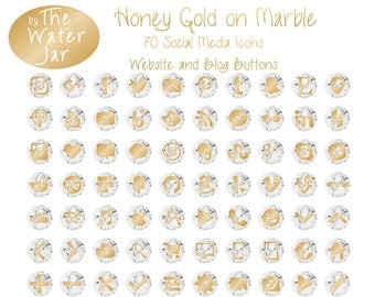Honey Gold Social Media Icons on Marble, Gold and Marble Website Buttons Blog Graphics,  Gold Social Icons, Blog Icons, Website Buttons