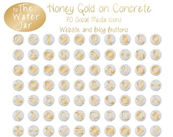 Honey Gold Social Media Icons on Concrete Circles, Gold and Concrete Website Buttons Blog Graphics,  Concrete and Gold