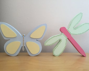 Hand Painted Wooden Butterfly & Dragonfly