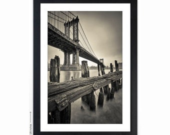 Modern Contrast II - Metallic Fine Art Print, Matted & Framed- NYC, Manhattan Bridge