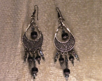 Pewter Chandelier Earrings