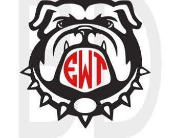 Bulldog Monogram SVG, eps, dxf, cricut air, silhouette, cameo, scan and cut, cutting files, vinyl cut file, instant download