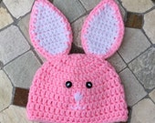 Crochet Baby Bunny Hat/ Easter Bunny Hat/Pink with White Ears Bunny Hat/Baby Photo Prop/Girls Bunny Hat/Ready to ship/FREE SHIPPING