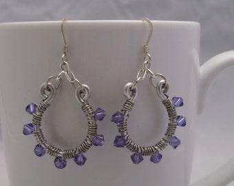 Purple Horseshoe Earrings