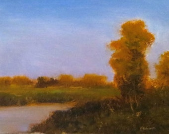 Oil painting landscape  Fall on the river  on stretched canvas 11x14