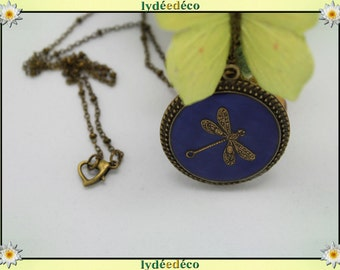 Vintage brass bronze and resin Dragonfly Necklace blue night ball clasp heart chain