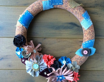 Country Primitive Wreath, Brown Wreath, Upcycled Denim Wreath, Handmade Flower Wreath, Recycled Flower Decor, 14 inch Wreath, Country Decor