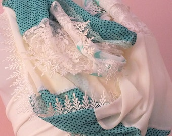 Lace Infinity scarf Women spring accessories Summer fashion accessories Loop scarf whit lace Gift
