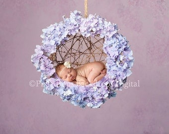 Digital Backdrops/Props (Hanging Newborn Digital Backdrop Hydrangea Flowers, Hydrangea Wreath on Purple Background) Digital Download
